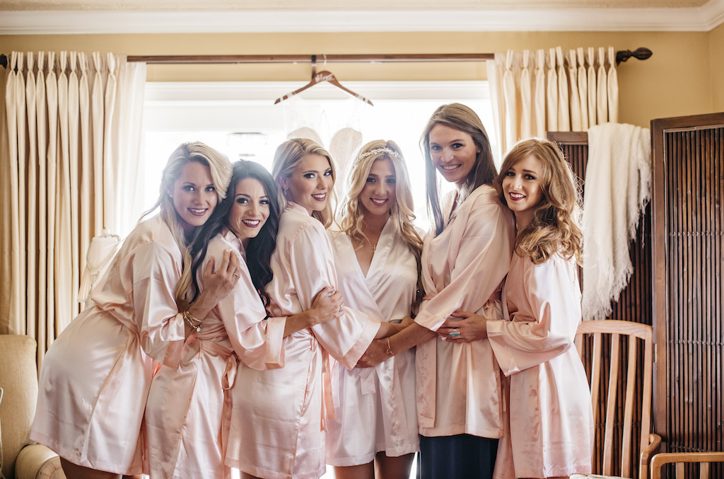 Bride and Bridesmaids Getting Ready Wedding Portrait in Silk Blush Pink Robes