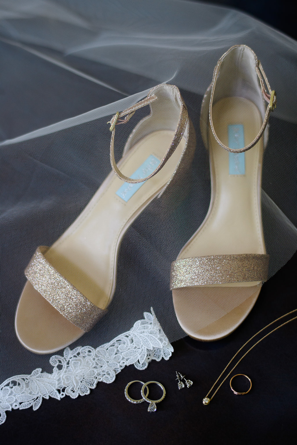 Gold Open Toe Strappy Wedding Shoes, Lace Garter, Wedding Jewelry and Rings