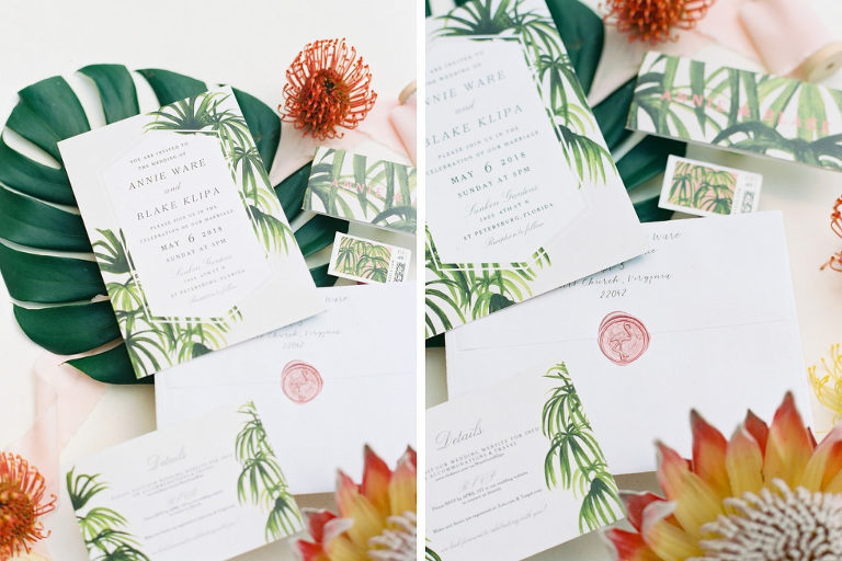 Tropical Inspired Green and White Palm Leaves Wedding Invitation Suite