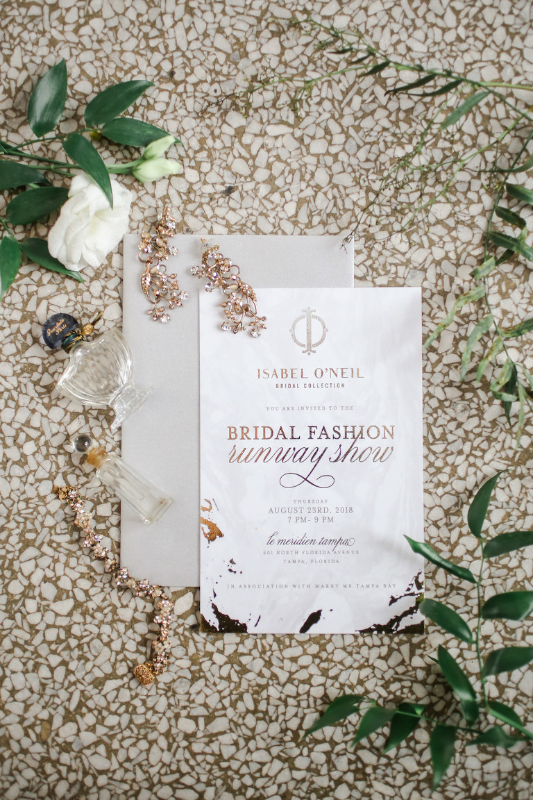 Modern Gold Foil Wedding Invitation, Crystal Gold Earrings and Perfume Bottle | Marry Me Tampa Bay and Isabel O'Neil Bridal Fashion Runway Show 2018 | Tampa Wedding Photographer Lifelong Photography Studios | Invitation URBANcoast