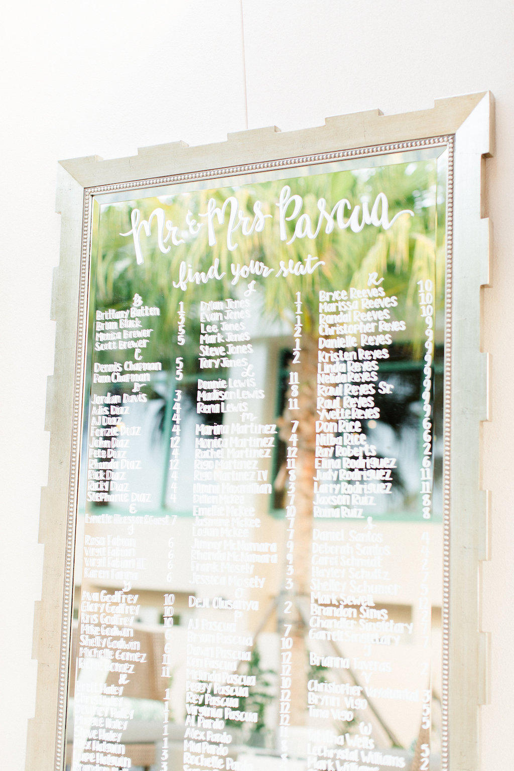 Elegant Wedding Seating Chart on Mirror with Gold Frame | St ...
