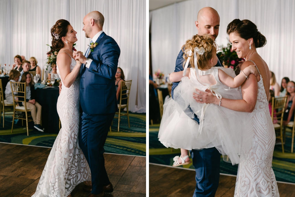 Bride and Groom Dance on Wedding Day Portrait with Daughter/Flower Girl at Clearwater Beach Opal Sands Resort Ballroom Wedding Venue | Tampa Bay Live Wedding Entertainment Grant Hemond | Tampa Bay Photographer Grind and Press