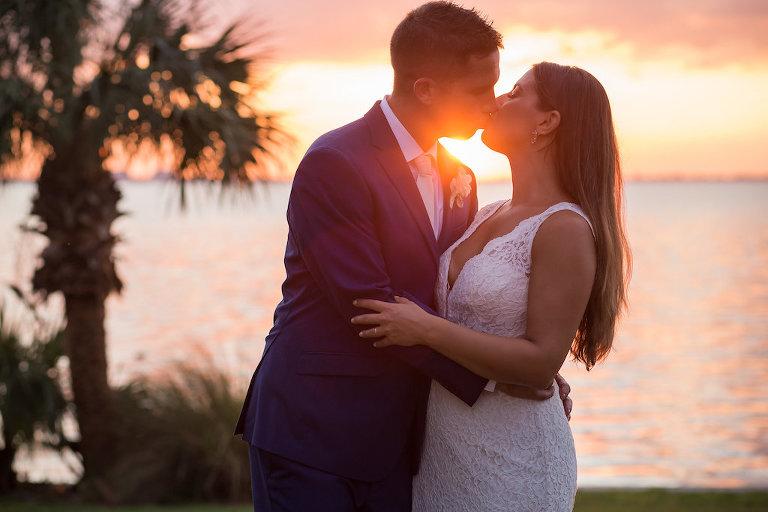 Sunset Bride and Groom Wedding Portrait | Sarasota Wedding Photographer Cat Pennenga Photography