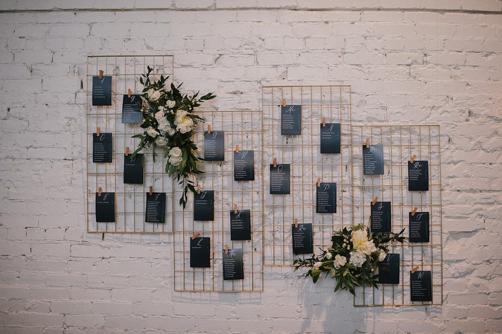 Wedding Reception Decor, Black Seating Chart on Gold Grid Panel with Floral Bouquets
