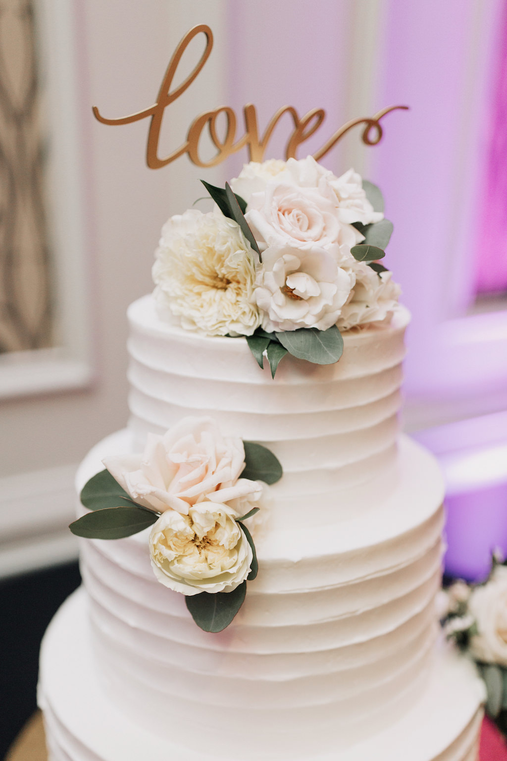 3 Tier White Buttercream Wedding Cake With Fresh Pastel Pink Flowers