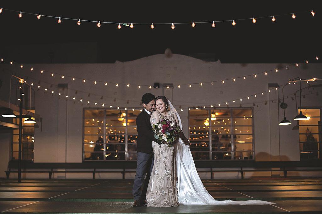 Outdoor NIghttime Bride and Groom Wedding Portrait | Wedding Venue St. Petersburg Shuffleboard Club | Tampa Bay Florist Cotton & Magnolia