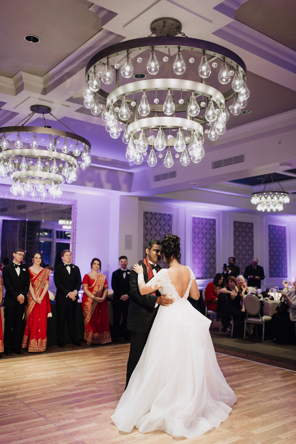 First Dance Wedding Portrait with Bulb Chandelier   Downtown St. Pete Boutique Hotel Venue The Birchwood