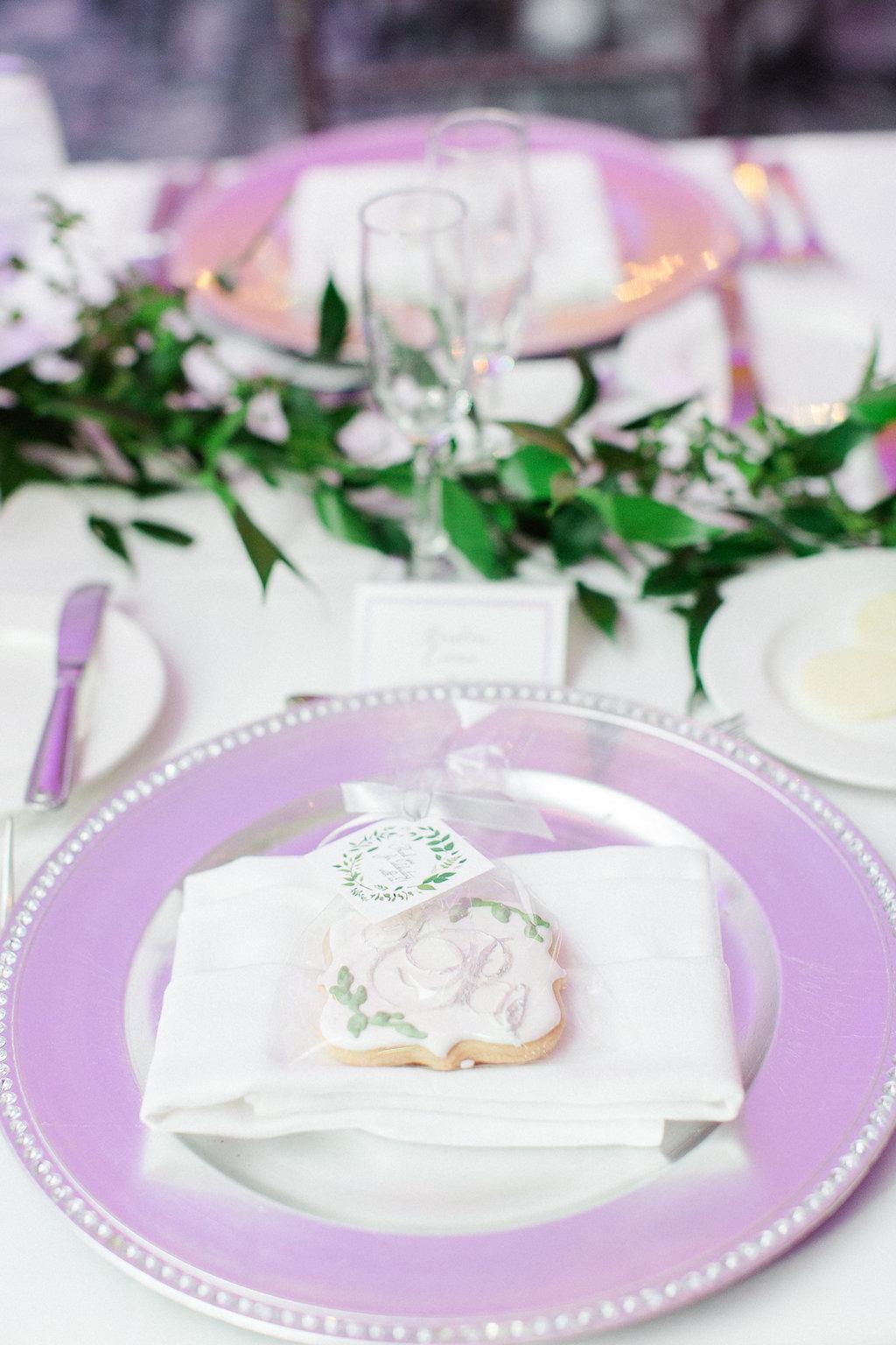 Ballroom Reception Decor, Silver Charger, Custom Monogram Wedding Cookie Favor, Greenery Garland   Tampa Wedding Photographer Ailyn La Torre