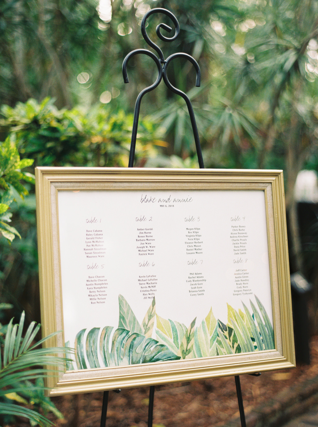 Tropical Inspired Wedding Reception Seating Chart in Gold Frame ...