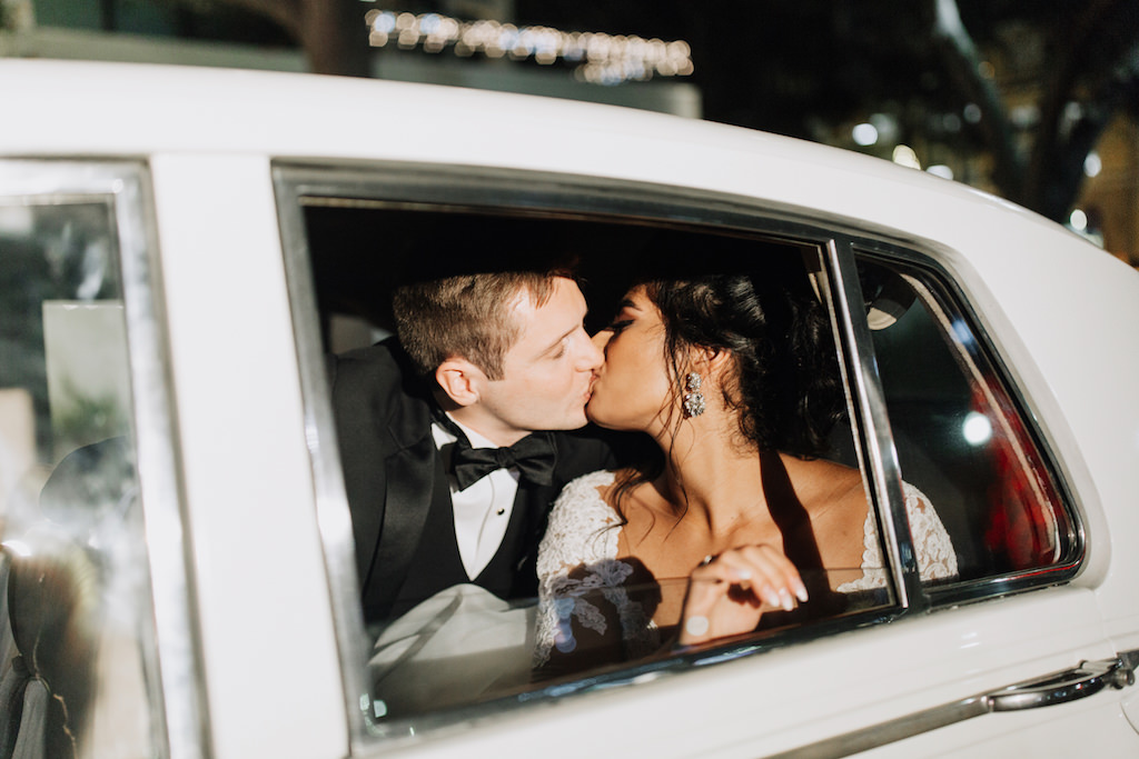 Bride and Groom Wedding Exit Vintage Rolls Royce Car   Downtown St. Pete Wedding Inspiration