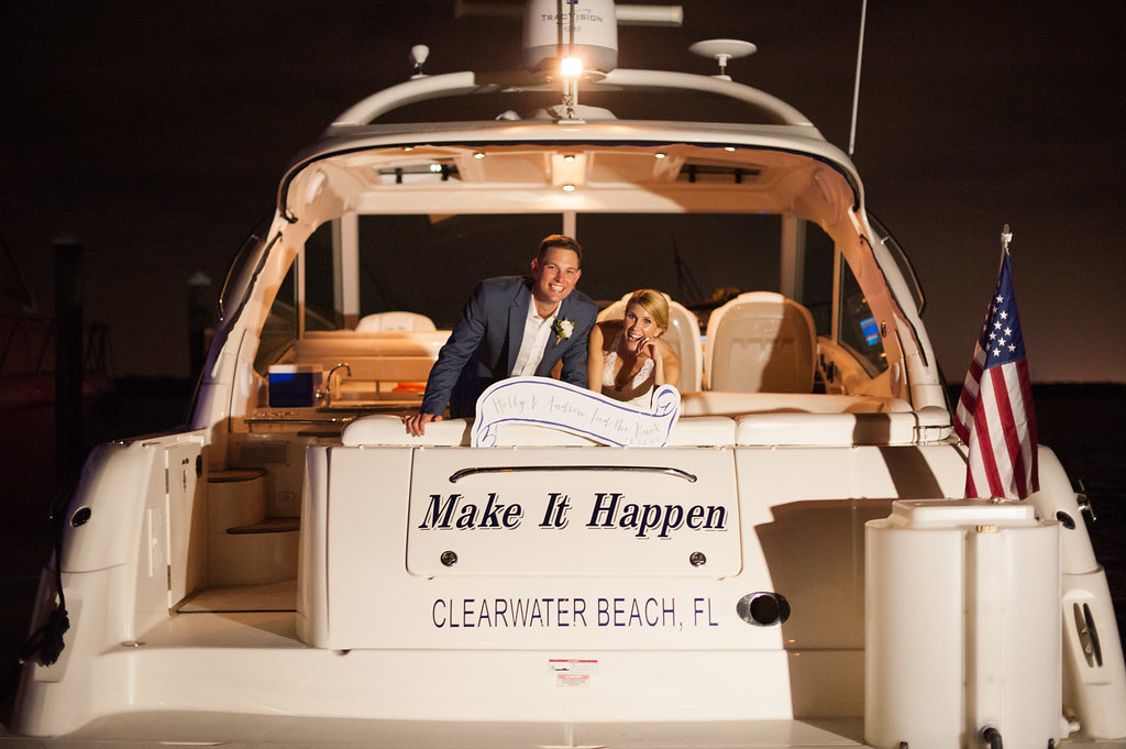 Bride And Groom Wedding Reception Boat Exit Tampa Wedding Planner