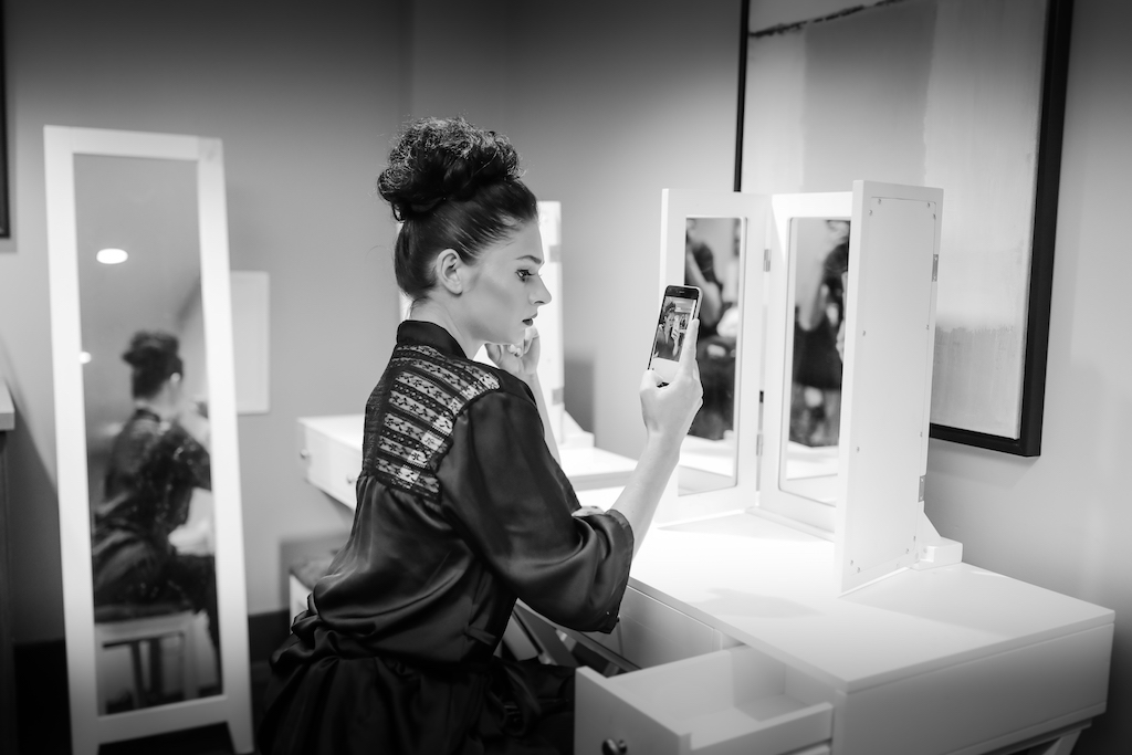 Model Getting Ready Portrait   Hair and Makeup Michele Renee The Studio   Marry Me Tampa Bay and Isabel O'Neil Bridal Fashion Runway Show 2018   Tampa Wedding Photographer Lifelong Photography Studios