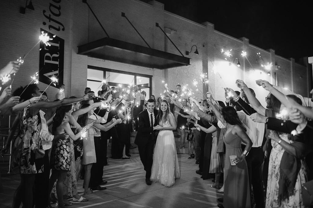 Bride and Groom Sparkler Exit at Lakeland Wedding Venue Haus 820