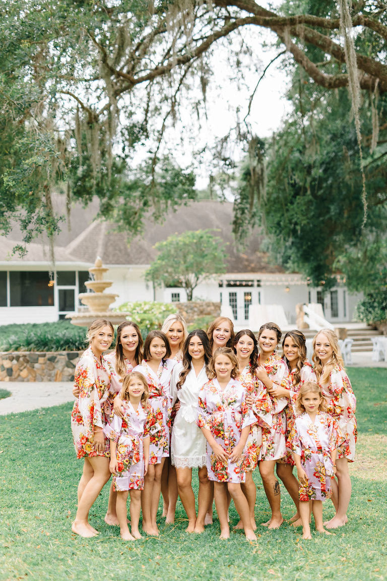 Outdoor Bride and Bridesmaids Getting Ready Portrait in Pink Floral Silk Robes | Tampa Bay Venue The Lange Farm