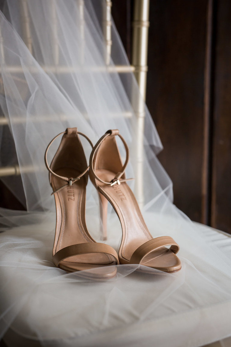 Nude Strappy Wedding Shoes on Veil | Tampa Bay Photographer Cat Pennenga Photography