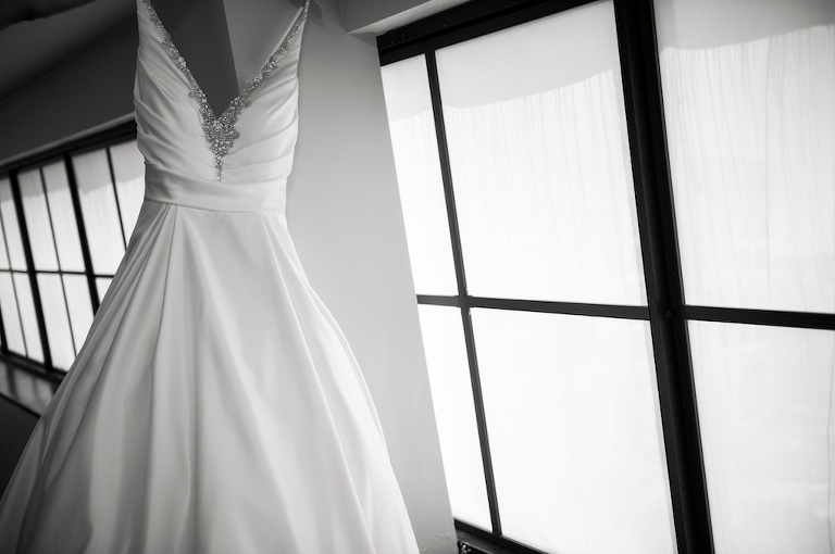 Ballgown V-Neck Rhinestone Beaded Tank Top Straps Sating Wedding Dress | Tampa Bay Photographer Andi Diamond Photography