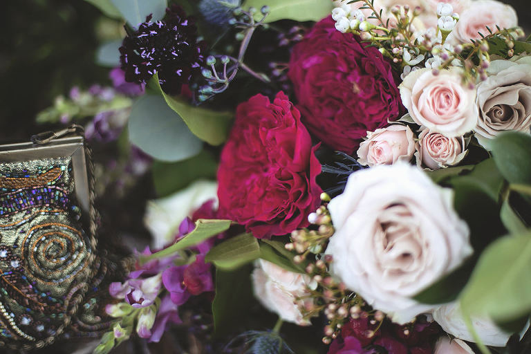 Fuchsia, Dark Maroon and Greenery English Inspired Wedding Bouquet | Tampa Bay Florist Cotton & Magnolia
