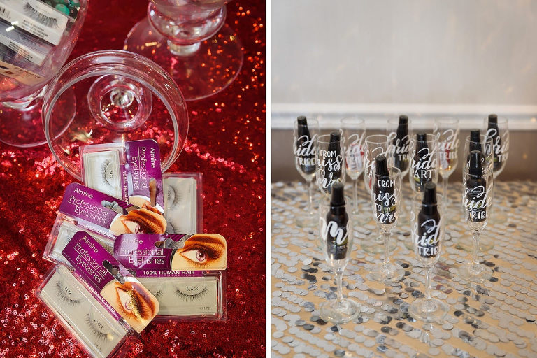 Eyelashes on Red Glitter Linen, Personalized Champagne Glasses and Mini Champagne Bottles | Tampa Bay Hair and Makeup Michele Renee The Studio | Linens Over the Top Rental Linens | Hyatt Wedding Experience