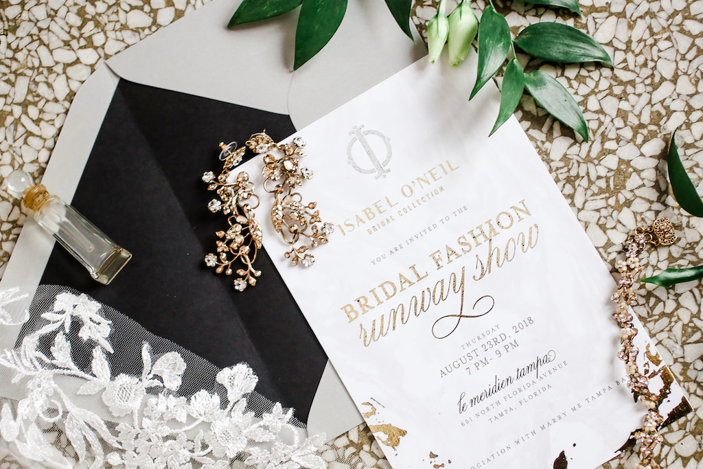 Modern Gold Foil Wedding Invitation, Crystal Gold Earrings and Perfume Bottle   Marry Me Tampa Bay and Isabel O'Neil Bridal Fashion Runway Show 2018   Tampa Wedding Photographer Lifelong Photography Studios   Invitation URBANcoast