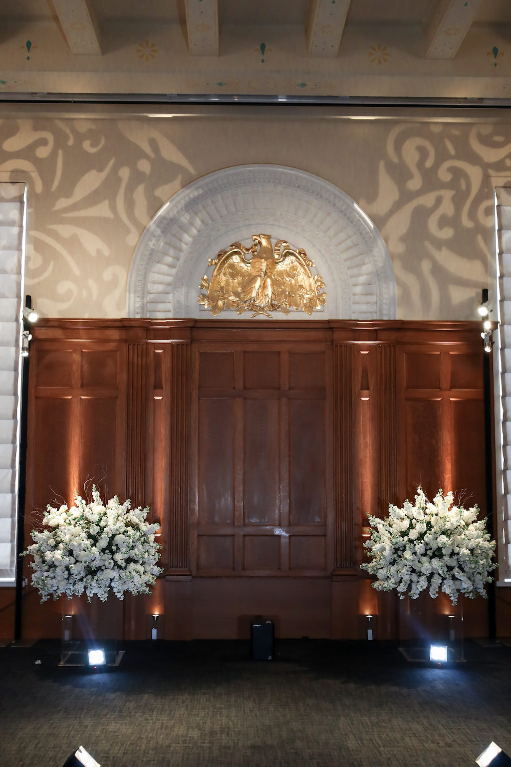 White Floral Bouquets on Clear Acrylic Stands   Historic Downtown Tampa Wedding Venue Le Meridien   Marry Me Tampa Bay and Isabel O'Neil Bridal Fashion Runway Show 2018   Tampa Wedding Photographer Lifelong Photography Studios