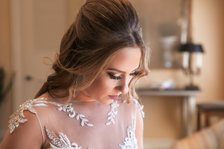 Bride Hair and Makeup Portrait in Maggie Sottero Illusion Tank Top with Beaded Lace Motif Wedding Dress | Sarasota Wedding Photographer Carrie Wildes Photography