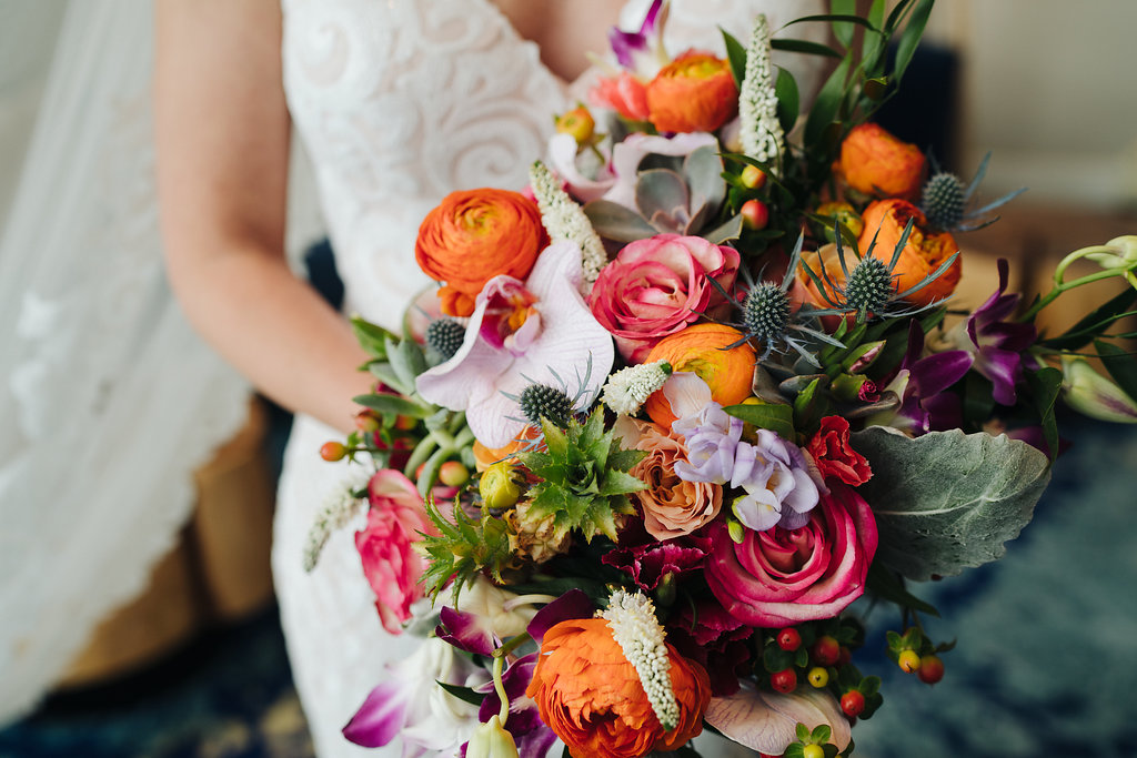 Tropical Inspired Wedding Bouquet, Burnt Orange, Pink, Lilac and Greenery Florals | Tampa Bay Photographer Grind and Press