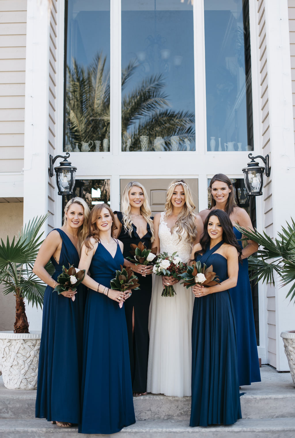 Outdoor Bride and Bridesmaids Wedding Portrait, Bridesmaids in Long Mismatched Style Navy Blue Dresses | Tampa Bay Wedding Planner Kelly Kennedy Weddings and Events