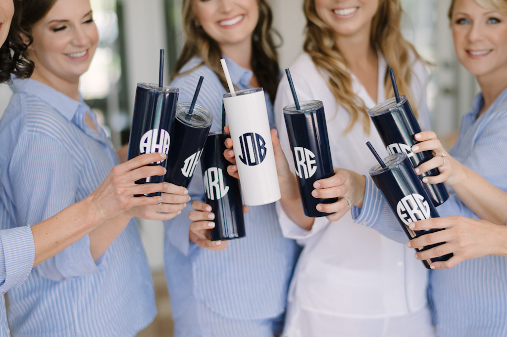 Bridal Party Getting Ready Portrait in Blue Striped Pajamas with Personalized Monogrammed Tumblers | Bridesmaid Gift Ideas