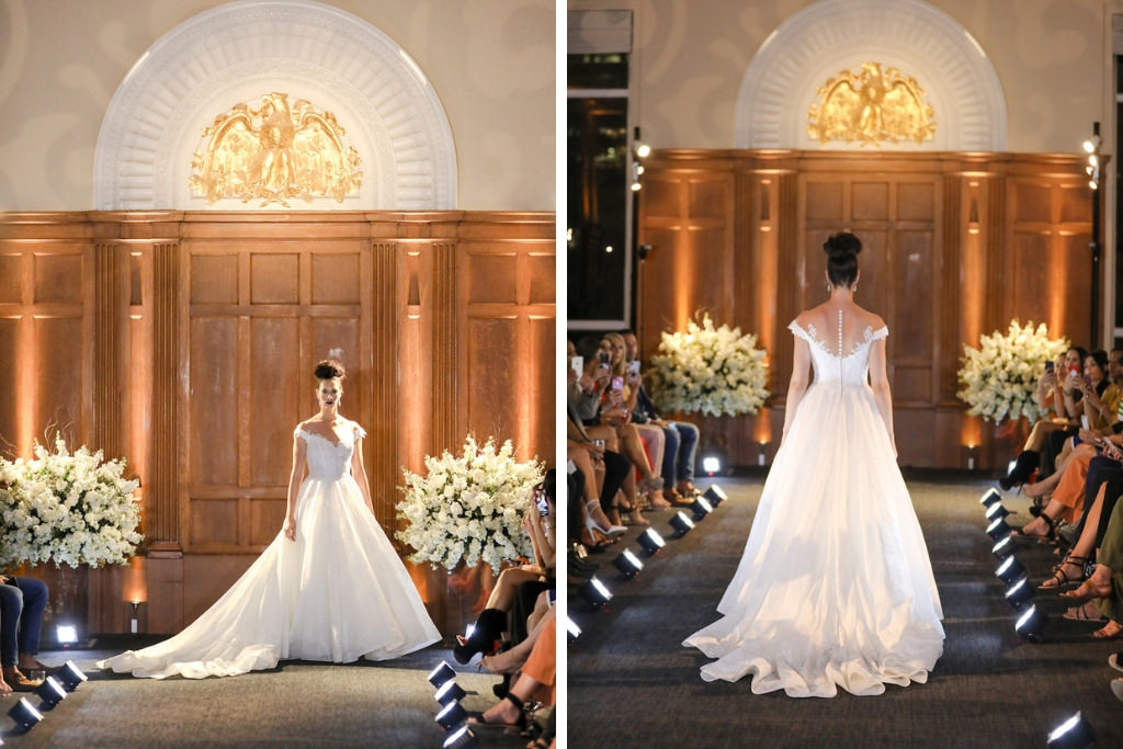 Off the Shoulder Ballgown Wedding Dress with Back Button Details and Lace Bodice   Marry Me Tampa Bay and Isabel O'Neil Bridal Fashion Runway Show 2018   Tampa Wedding Photographer Lifelong Photography Studios   Hair and Makeup Michele Renee the Studio   Historic Downtown Tampa Venue Le Meridien