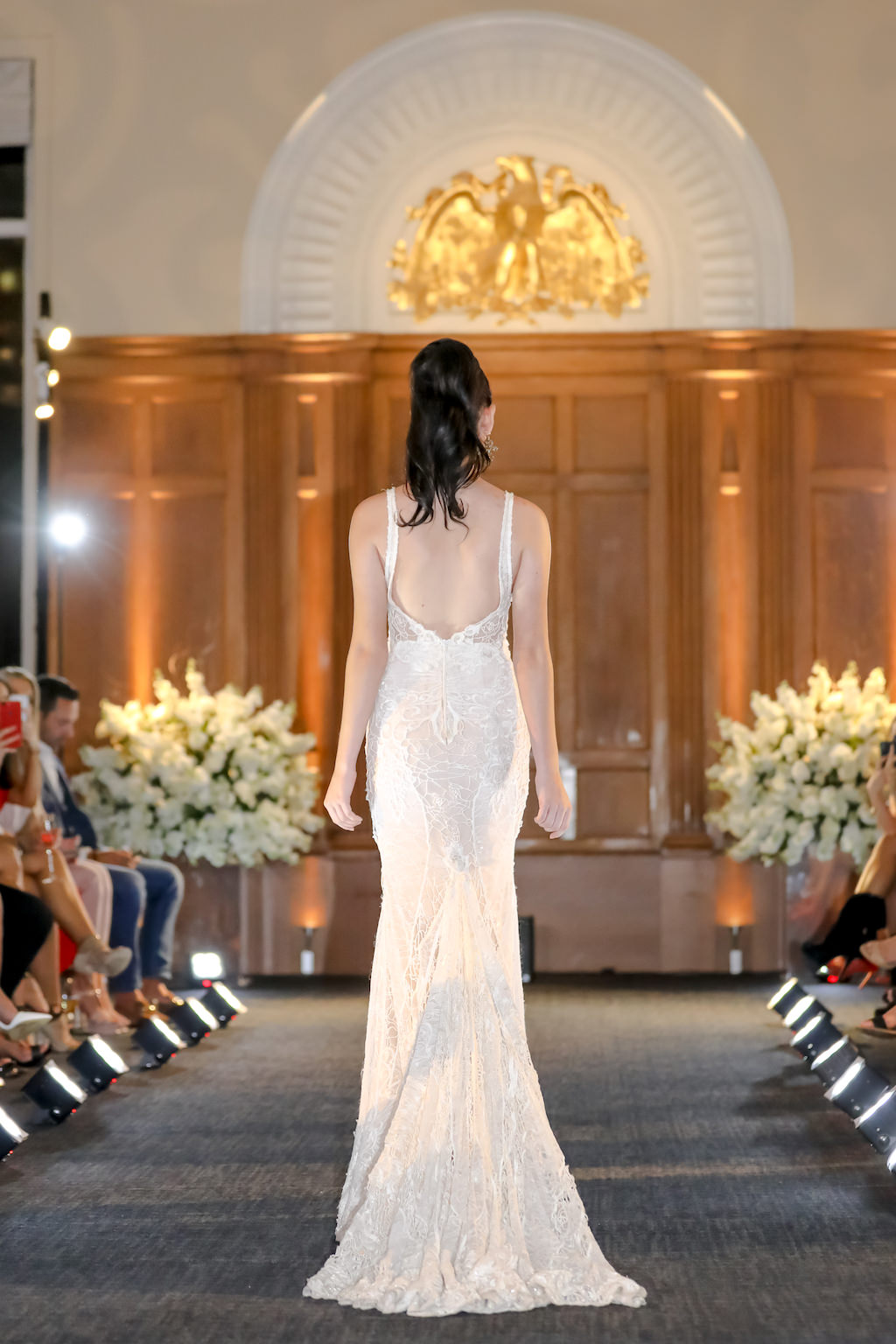 Sleek Lace Tank Top Strap and Low Back Wedding Dress   Historic Downtown Tampa Wedding Venue Le Meridien   Hair and Makeup Michele Renee the Studio   Marry Me Tampa Bay and Isabel O'Neil Bridal Fashion Runway Show 2018   Tampa Wedding Photographer Lifelong Photography Studios