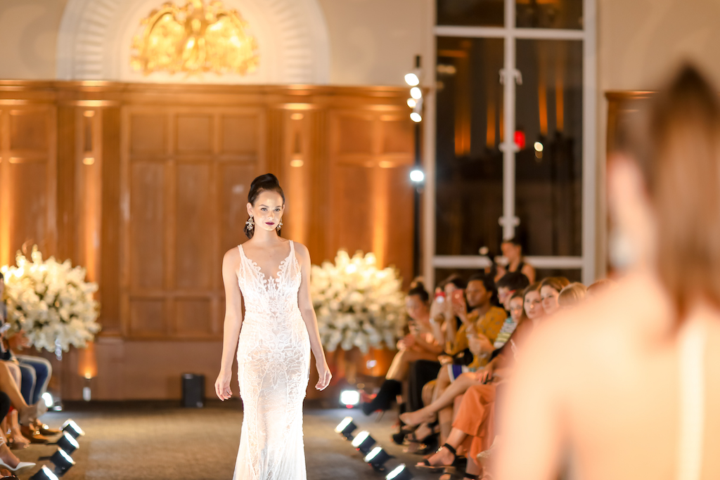 Sleek Lace Tank Top Strap Lowcut V-Neck Wedding Dress   Historic Downtown Tampa Wedding Venue Le Meridien   Hair and Makeup Michele Renee the Studio   Marry Me Tampa Bay and Isabel O'Neil Bridal Fashion Runway Show 2018   Tampa Wedding Photographer Lifelong Photography Studios