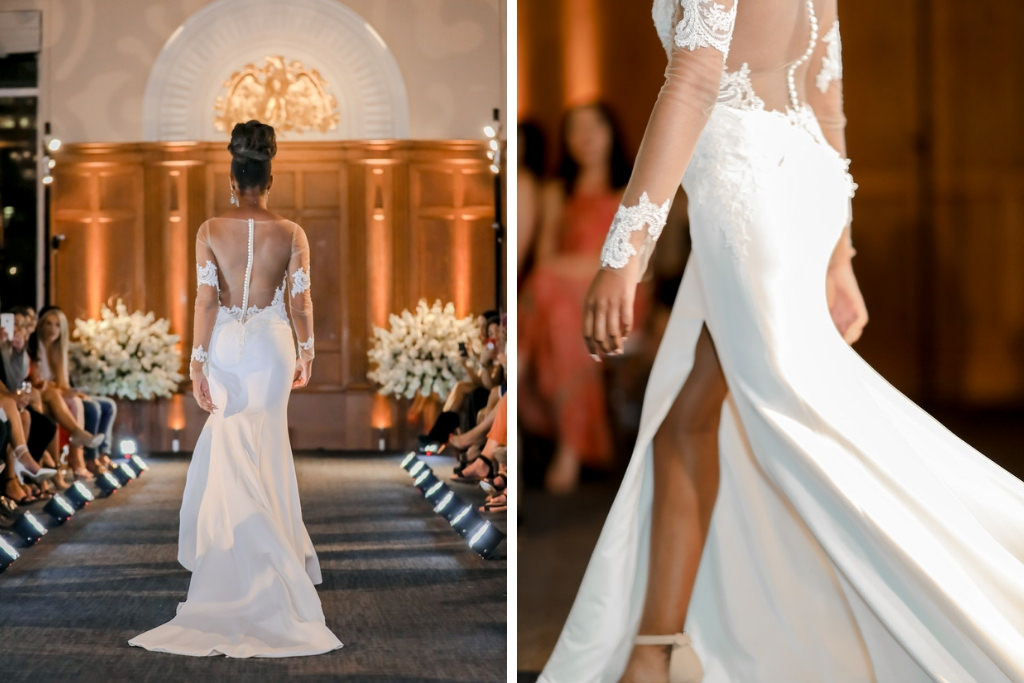 Illusion Long Sleeve Lace Detail High Neck and Low-back Wedding Dress   Hair and Makeup Michele Renee the Studio   Historic Downtown Tampa Venue Le Meridien   Marry Me Tampa Bay and Isabel O'Neil Bridal Fashion Runway Show 2018   Tampa Wedding Photographer Lifelong Photography Studios