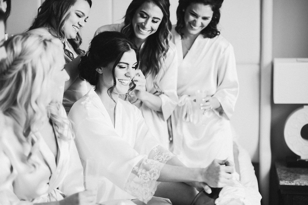 Bride and Bridesmaids Getting Ready Wedding Portrait in Robes   Tampa Hair Artist Femme Akoi   St. Petersburg Photographer Ailyn La Torre