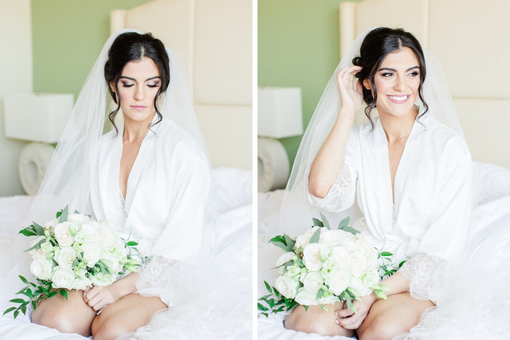 Bride Getting Ready Wedding Portrait in White Silk Robe and Veil with White and Greenery Floral Bouquet   Tampa Hair Artist Femme Akoi   St. Petersburg Photographer Ailyn La Torre