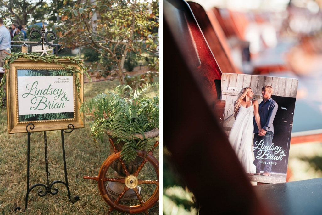 Outdoor Wedding Ceremony Decor, Welcome Sign in Vintage Gold Frame and Green Font | Save the Date Invitation | Tampa Bay Wedding Planner Kelly Kennedy Weddings and Events