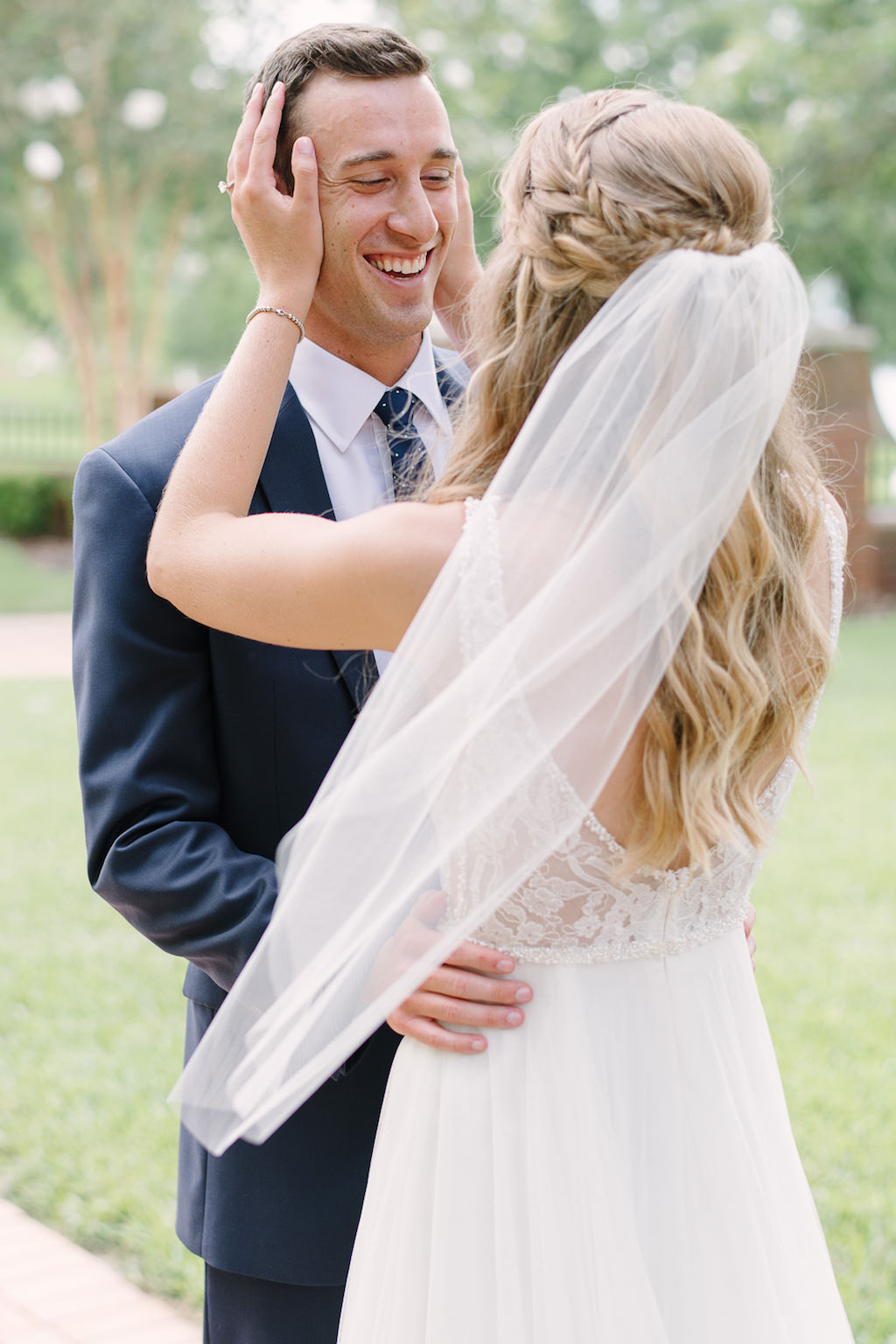 Outdoor Bride and Groom First Look Wedding Portrait