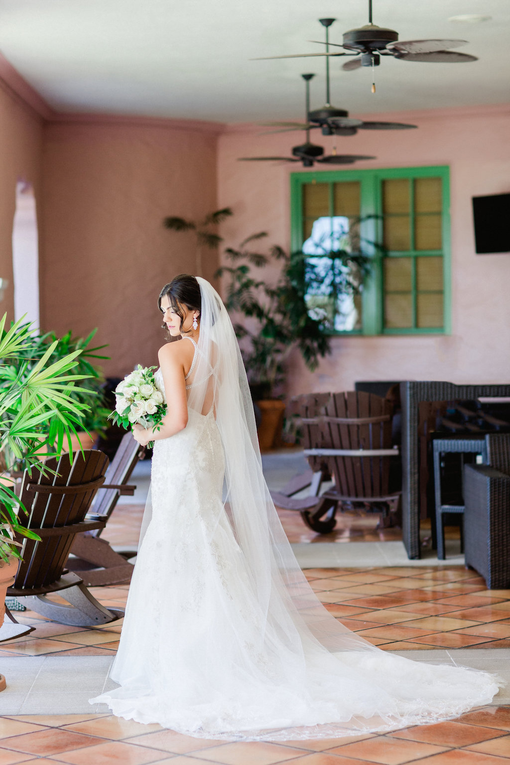 Bridal Wedding Portrait in High Halter Lace and Rhinestone Bodice Wedding Dress, Strappy Open Back Wedding Dress and Cathedral Length Veil   Tampa Hair Artist Femme Akoi   St. Petersburg Photographer Ailyn La Torre Photography