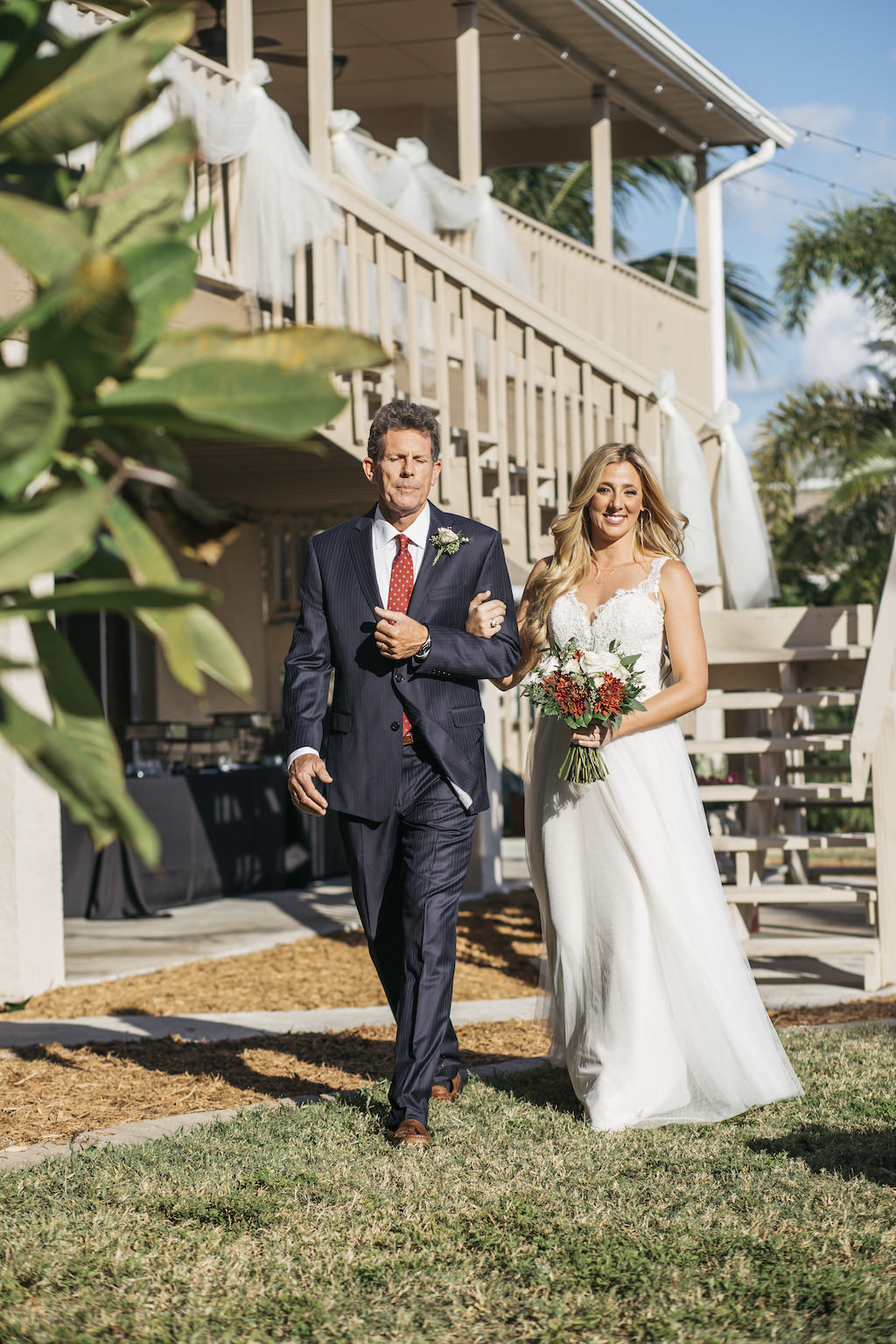 Outdoor Bride Walking with Father Down the Aisle Ceremony Portrait