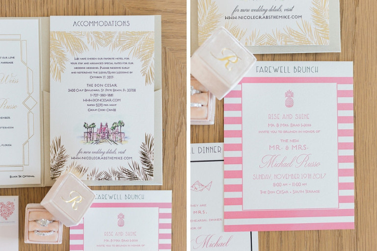 Pink, White and Gold Art Deco Letterpress Wedding Invitation Suite | St. Petersburg Stationery Designer and Printer A&P Designs