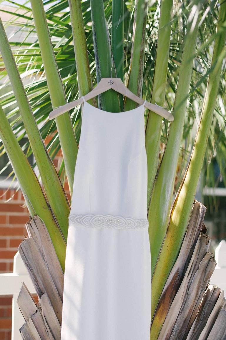 White Sleek High Neckline Spaghetti Strap Wedding Dress with Rhinestone Belt