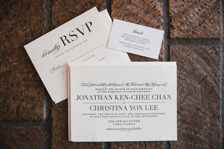 Modern Elegant White Wedding Invitation Suite | Tampa Bay Photographer Marc Edwards Photography