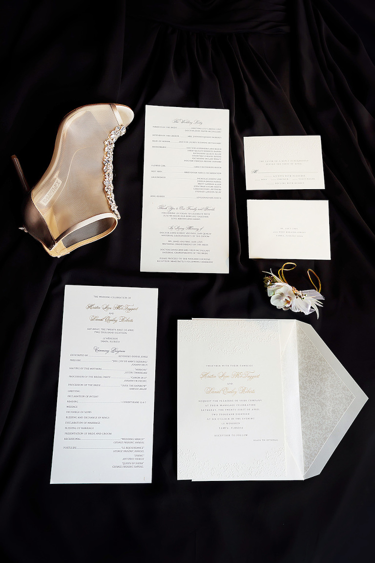 Elegant Modern Wedding Invitation Suite, Badgley Mischka Mesh Bootie Peep Toe Wedding Shoes with Rhinestones