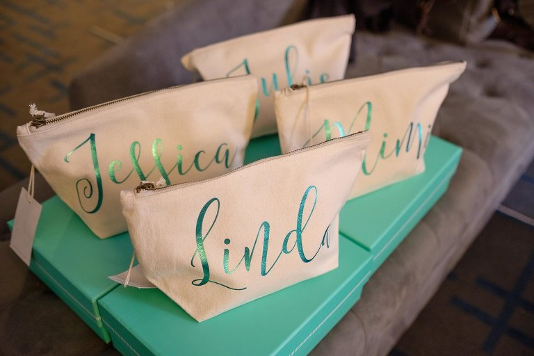 Custom Tan and Green Monogrammed Bridesmaids Makeup Bags | Tampa Bay Photographer Marc Edwards Photographs