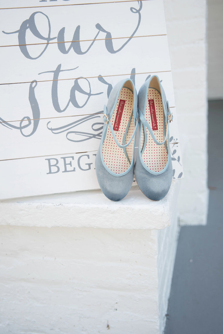 Pale Blue Ballerina Flat Wedding Shoes with Custom Wooden Sign Background | Tampa Bay Photographer Kristen Marie Photography