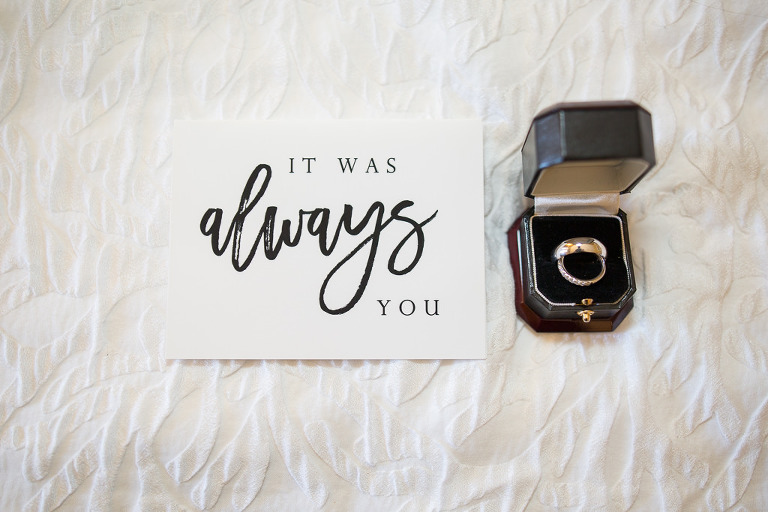 White Wedding Card with Black Font and Wedding Rings in Ring Box