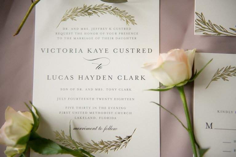 Modern Simple Boho Earthy Gold Foil Wedding Invitation | Tampa Bay Photographer Andi Diamond Photography