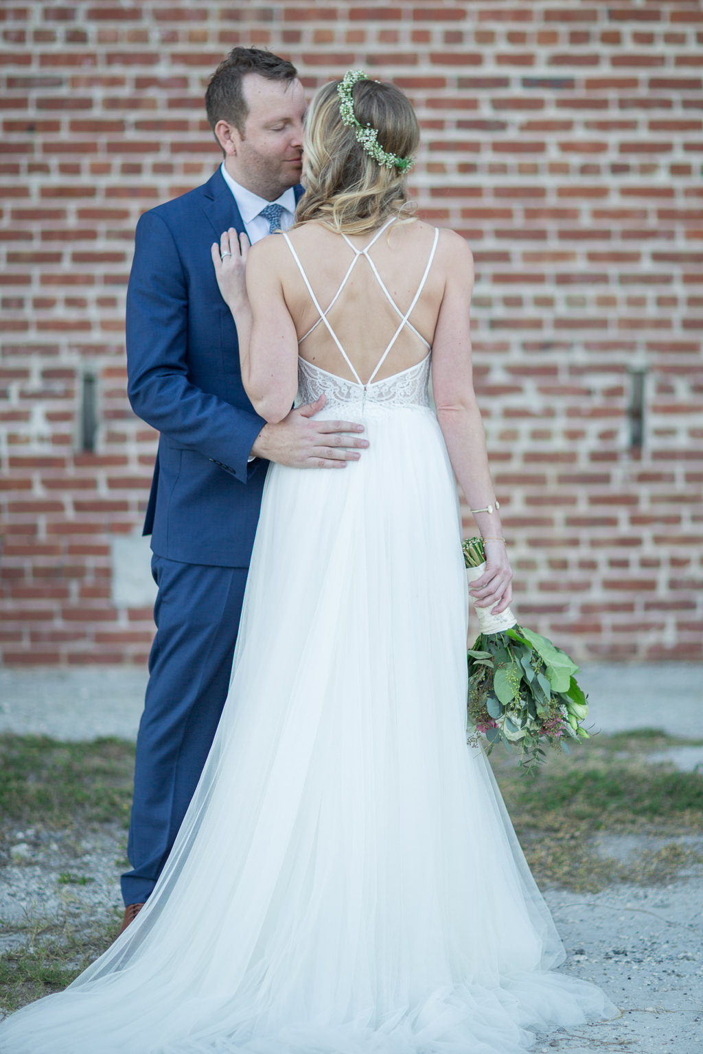 Outdoor Bride Wedding Portrait In A Line Strappy Lace And Tulle