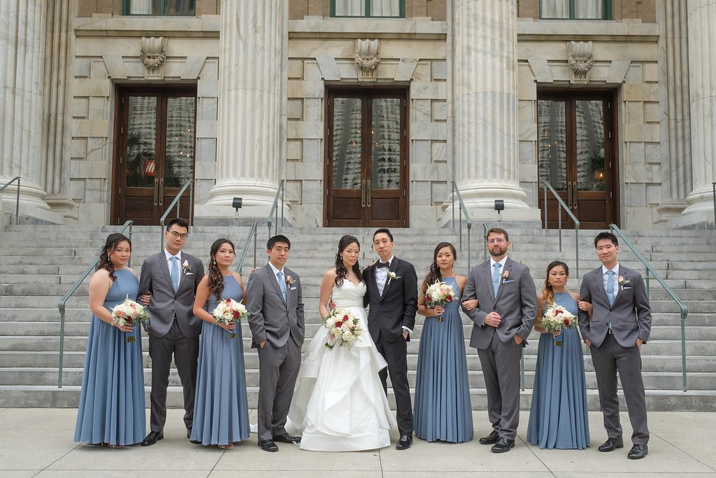 Elegant Cranberry And Slate Blue Wine Inspired Downtown Tampa Wedding Straz Center