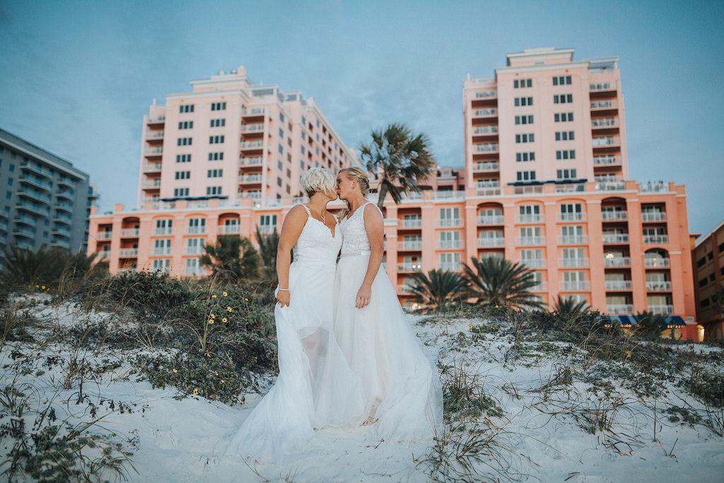 Clearwater Beach Florida Same Sex Gay Waterfront Bridal Wedding Portrait | Venue Hyatt Regency Clearwater Beach