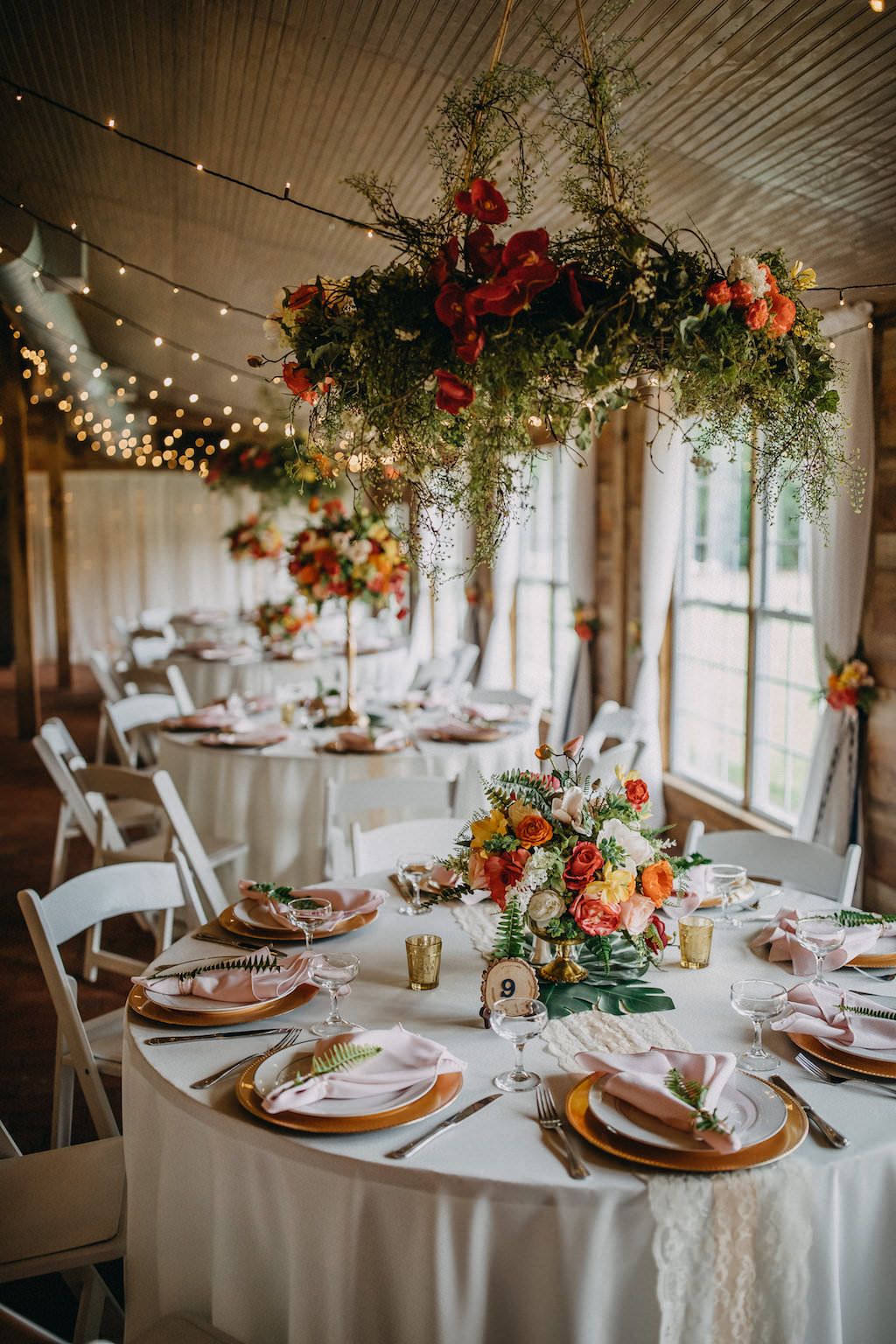 Tropical Inspired Wedding Reception Decor Round Tables With